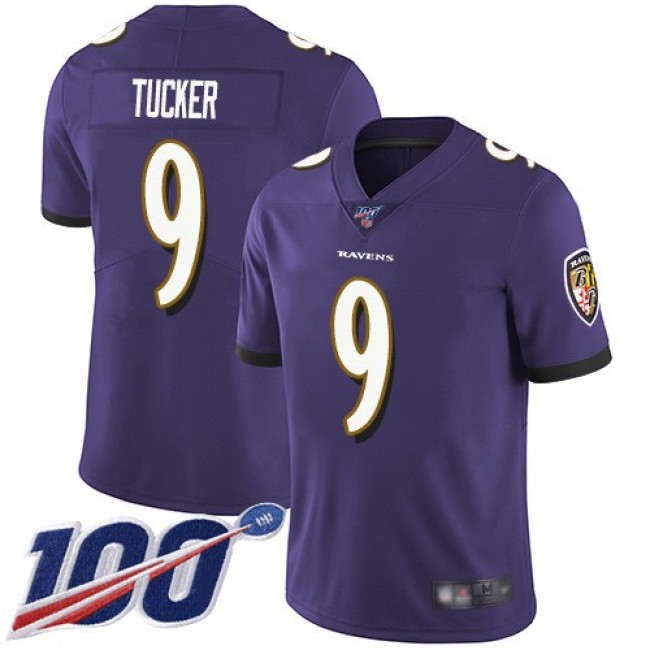Nike Ravens #9 Justin Tucker Purple Team Color Men's Stitched NFL 100th Season Vapor Limited Jersey