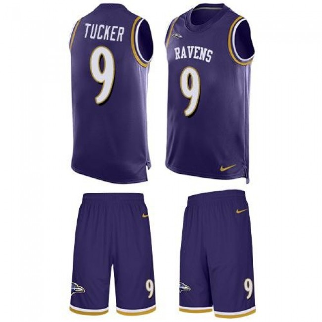 Nike Ravens #9 Justin Tucker Purple Team Color Men's Stitched NFL Limited Tank Top Suit Jersey
