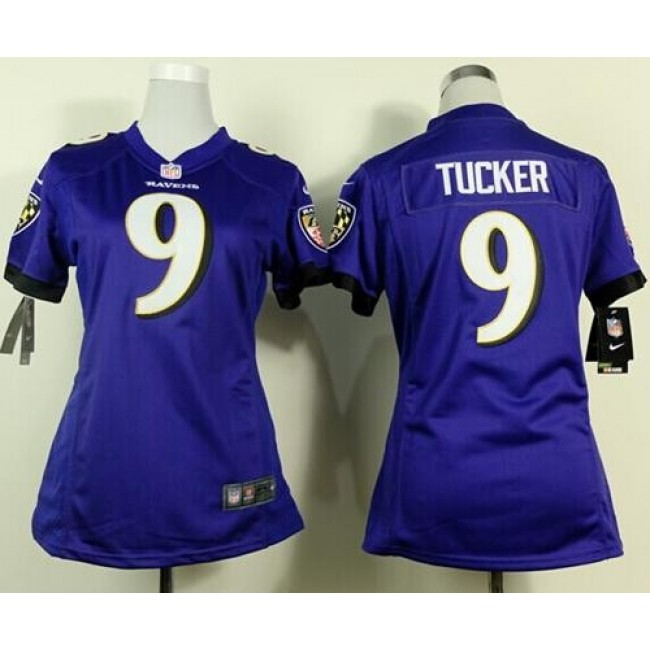Women's Ravens #9 Justin Tucker Purple Team Color Stitched NFL New Elite Jersey