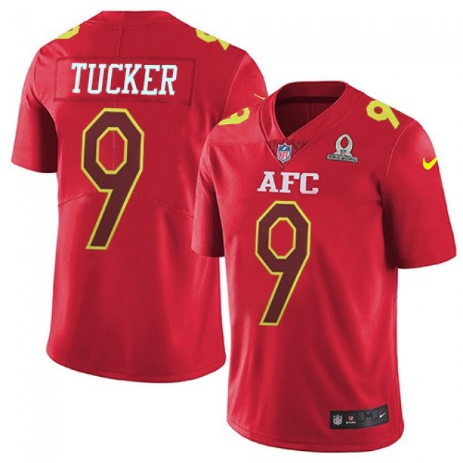 Nike Ravens #9 Justin Tucker Red Men's Stitched NFL Limited AFC 2017 Pro Bowl Jersey
