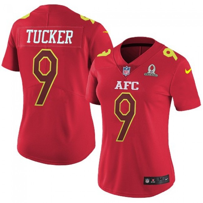 Women's Ravens #9 Justin Tucker Red Stitched NFL Limited AFC 2017 Pro Bowl Jersey