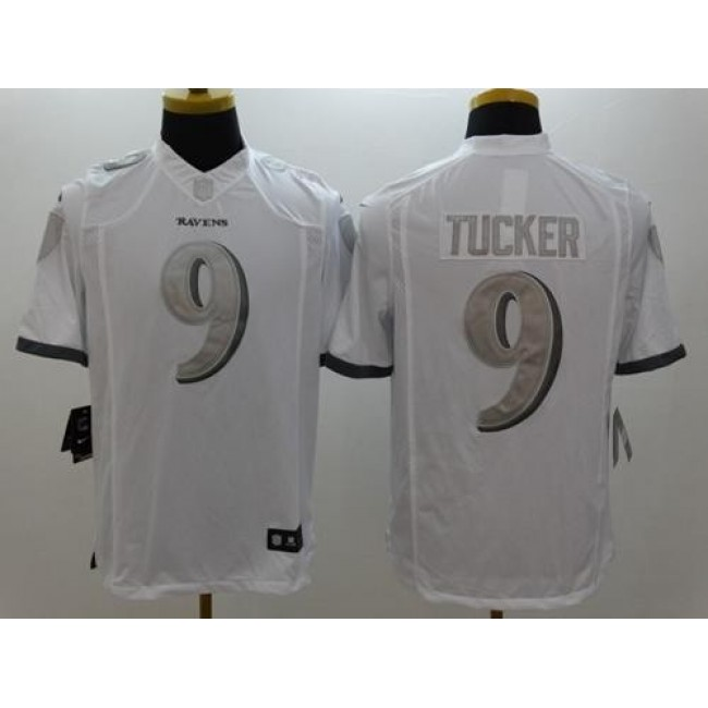 Nike Ravens #9 Justin Tucker White Men's Stitched NFL Limited Platinum Jersey