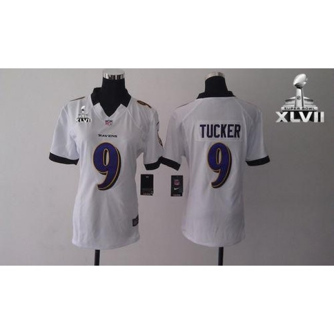 Women's Ravens #9 Justin Tucker White Super Bowl XLVII Stitched NFL Elite Jersey