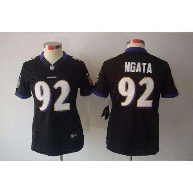 Women's Ravens #92 Haloti Ngata Black Alternate Stitched NFL Limited Jersey
