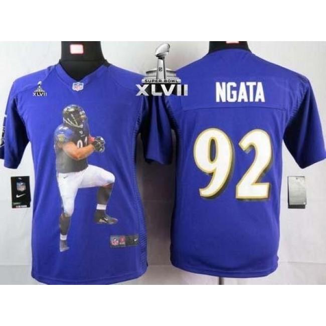 Baltimore Ravens #92 Haloti Ngata Purple Team Color Super Bowl XLVII Youth Portrait Fashion NFL Game Jersey