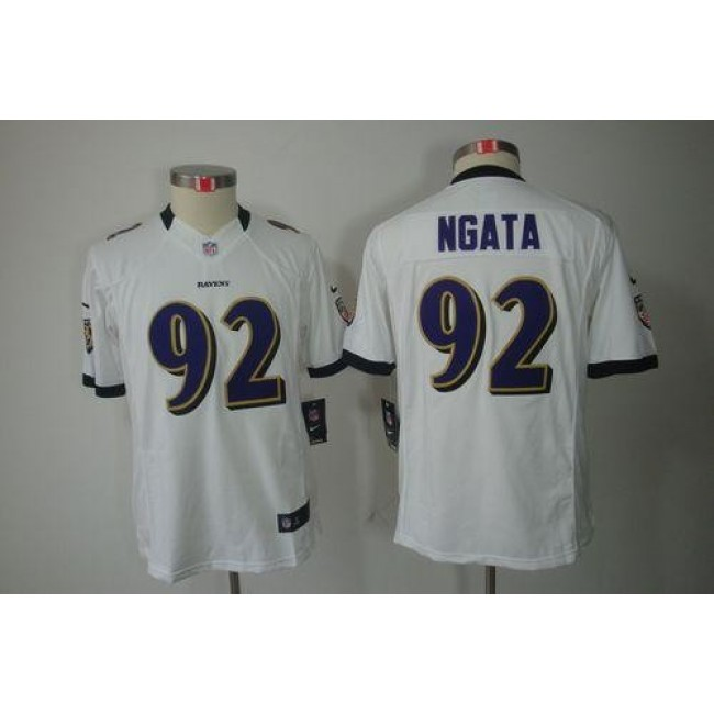 Baltimore Ravens #92 Haloti Ngata White Youth Stitched NFL Limited Jersey