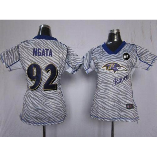Women's Ravens #92 Haloti Ngata Zebra With Art Patch Stitched NFL Elite Jersey