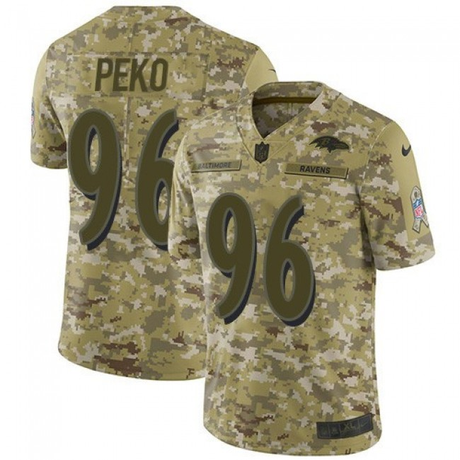 Nike Ravens #96 Domata Peko Sr Camo Men's Stitched NFL Limited 2018 Salute To Service Jersey