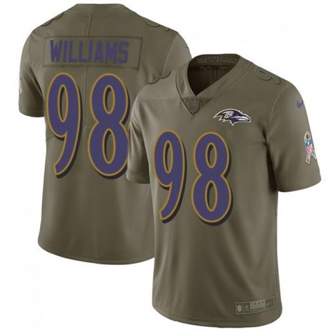 Nike Ravens #98 Brandon Williams Olive Men's Stitched NFL Limited 2017 Salute To Service Jersey