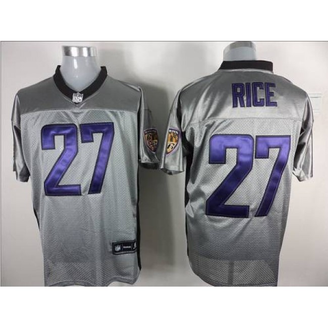 Ravens #27 Ray Rice Grey Shadow Stitched NFL Jersey
