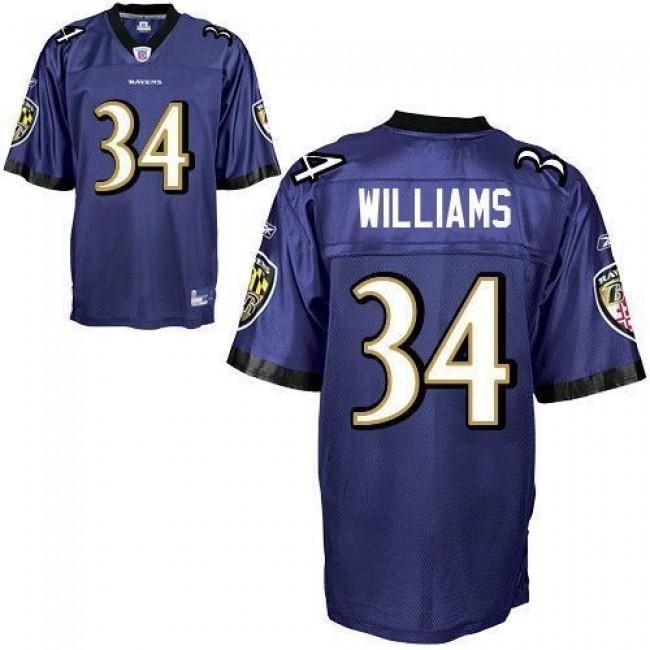 Ravens #34 Ricky Williams Purple Stitched NFL Jersey