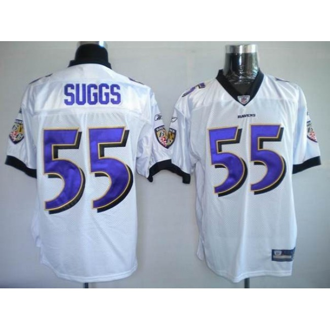 Ravens #55 Terrell Suggs White Stitched NFL Jersey