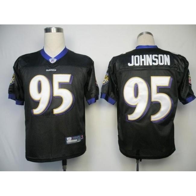 Ravens #95 Jarret Johnson Black Stitched NFL Jersey