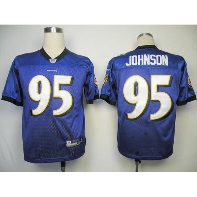 Ravens #95 Jarret Johnson Purple Stitched NFL Jersey