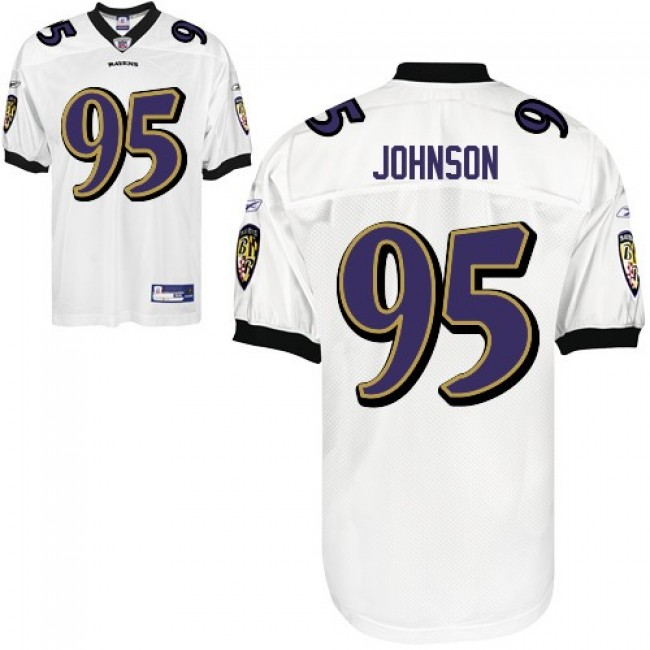 Ravens #95 Jarret Johnson White Stitched NFL Jersey