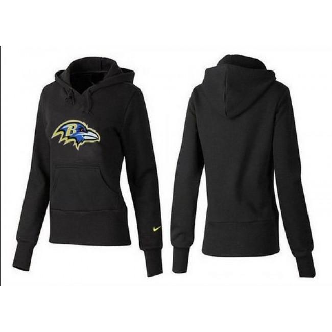 Women's Baltimore Ravens Logo Pullover Hoodie Black Jersey