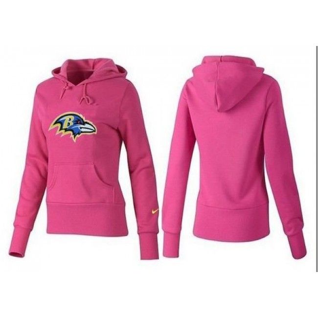 Women's Baltimore Ravens Logo Pullover Hoodie Pink Jersey