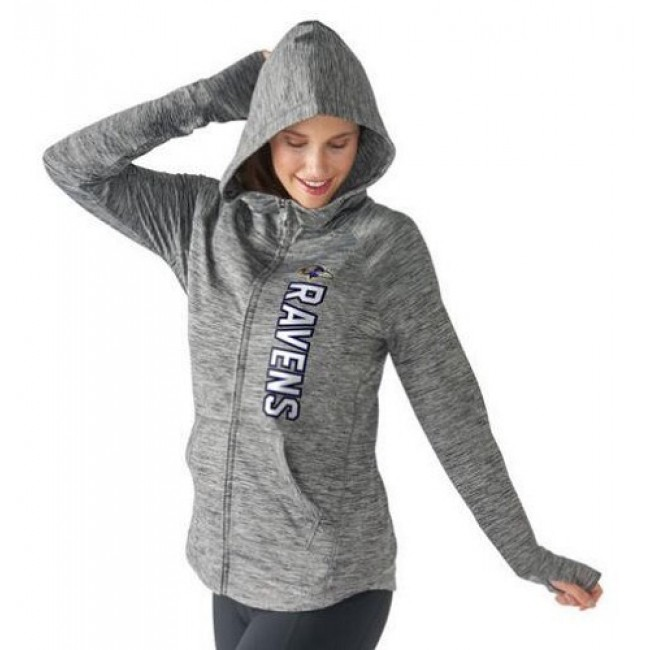 Women's NFL Baltimore Ravens G-III 4Her by Carl Banks Recovery Full-Zip Hoodie Heathered Gray Jersey