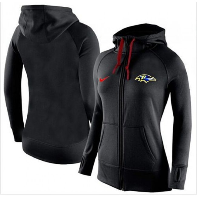 Women's Baltimore Ravens Full-Zip Hoodie Black Jersey