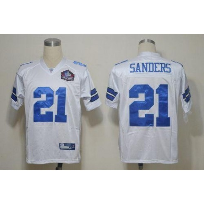 Cowboys #21 Deion Sanders White Hall of Fame 2012 Stitched NFL Jersey
