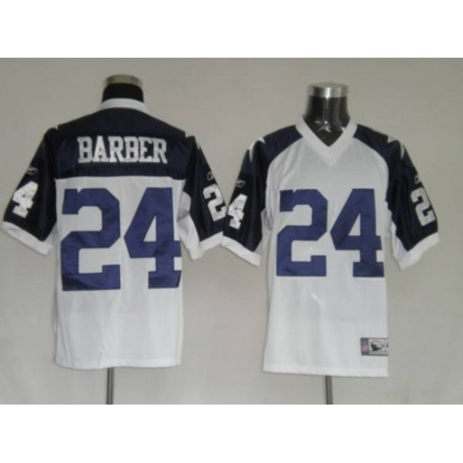 Cowboys #24 Marion Barber White Thanksgiving Stitched Throwback NFL Jersey