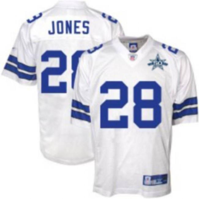 Cowboys #28 Felix Jones White Team 50TH Anniversary Patch Stitched NFL Jersey