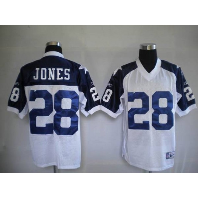Cowboys #28 Felix Jones White Thanksgiving Stitched Throwback NFL Jersey