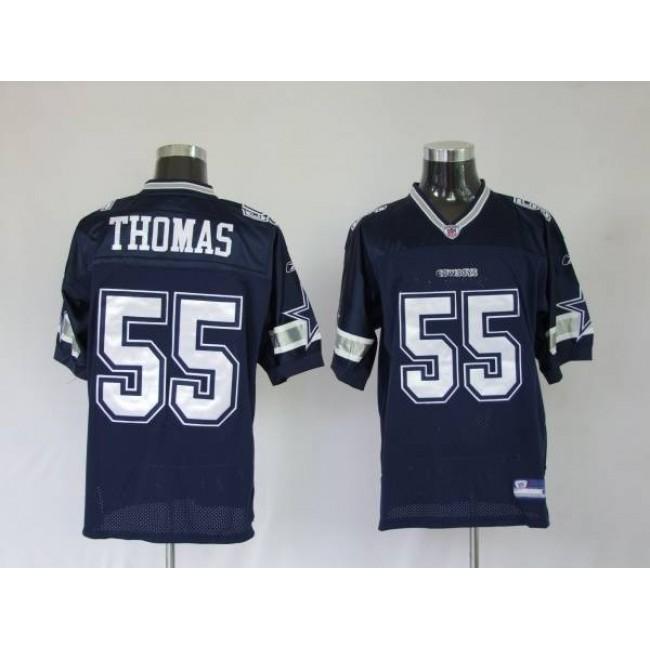Cowboys #55 Zach Thomas Blue Stitched NFL Jersey