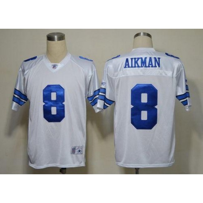Cowboys #8 Troy Aikman White Legend Throwback Stitched NFL Jersey