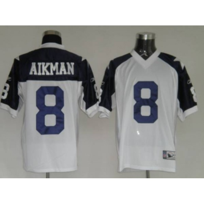 Cowboys #8 Troy Aikman White Thanksgiving Stitched Throwback NFL Jersey