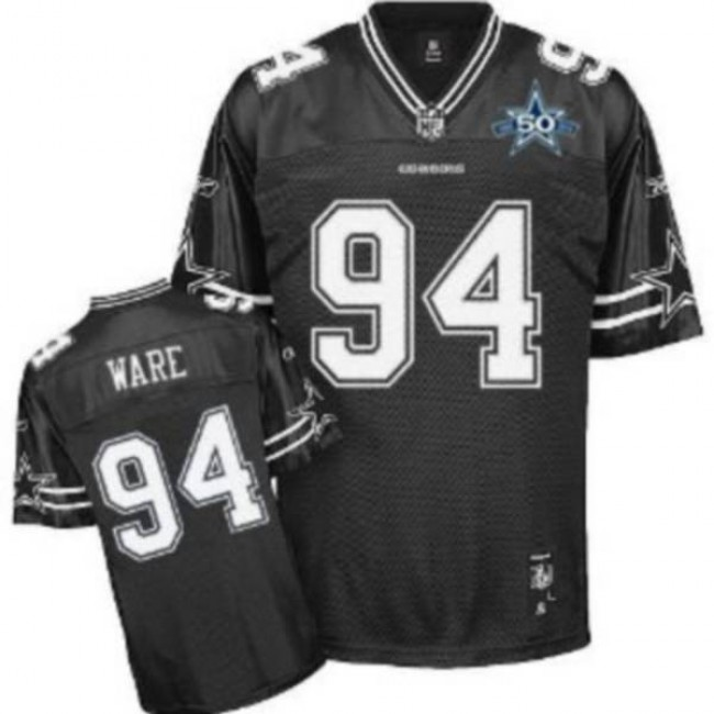 Cowboys #94 DeMarcus Ware Black Shadow Team 50TH Patch Stitched NFL Jersey