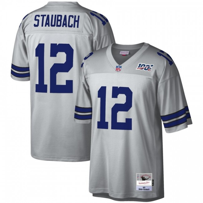 Dallas Cowboys #12 Roger Staubach Mitchell & Ness NFL 100 Retired Player Platinum Jersey