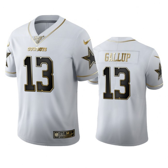 Dallas Cowboys #13 Michael Gallup Men's Nike White Golden Edition Vapor Limited NFL 100 Jersey