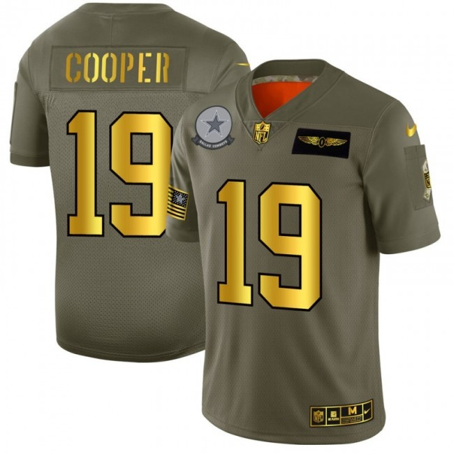 Dallas Cowboys #19 Amari Cooper NFL Men's Nike Olive Gold 2019 Salute to Service Limited Jersey