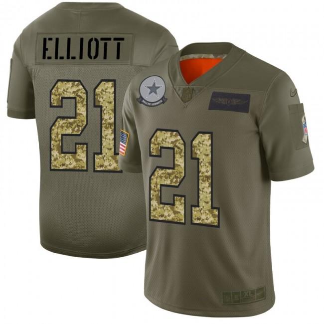 Dallas Cowboys #21 Ezekiel Elliott Men's Nike 2019 Olive Camo Salute To Service Limited NFL Jersey