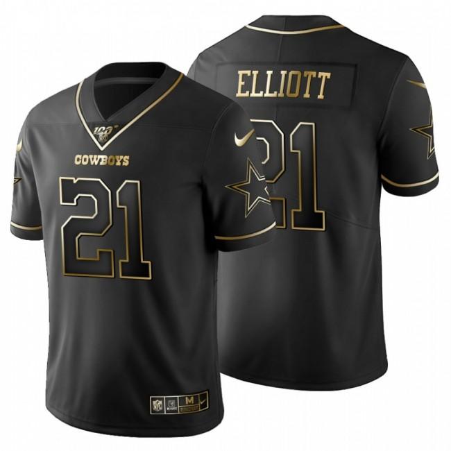 Dallas Cowboys #21 Ezekiel Elliott Men's Nike Black Golden Limited NFL 100 Jersey
