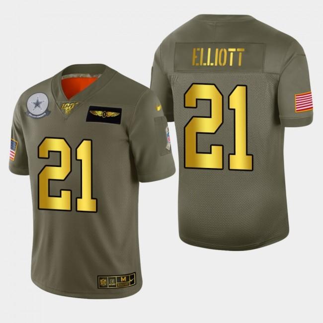 Dallas Cowboys #21 Ezekiel Elliott Men's Nike Olive Gold 2019 Salute to Service Limited NFL 100 Jersey