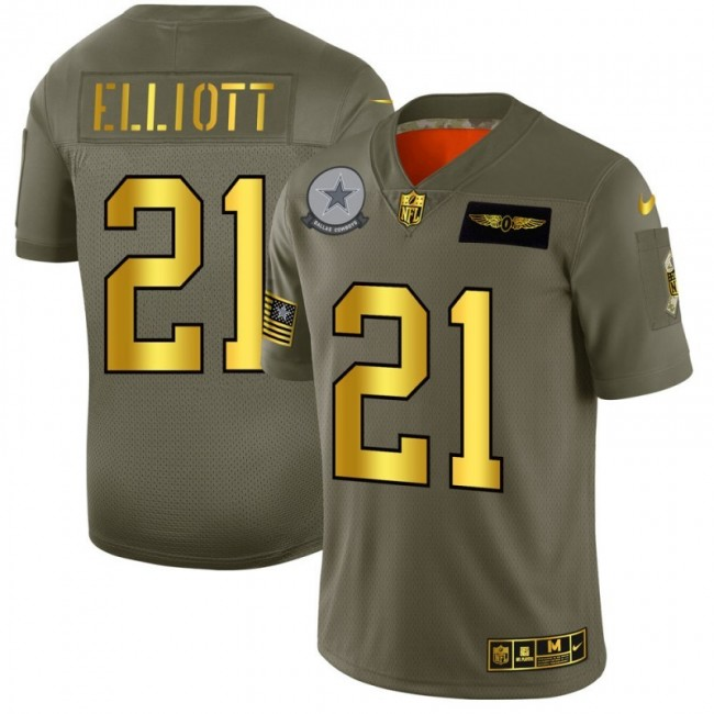 Dallas Cowboys #21 Ezekiel Elliott NFL Men's Nike Olive Gold 2019 Salute to Service Limited Jersey