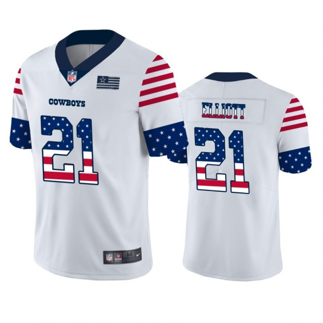 Dallas Cowboys #21 Ezekiel Elliott White Men's Nike Team Logo USA Flag Vapor Untouchable Limited NFL Jersey