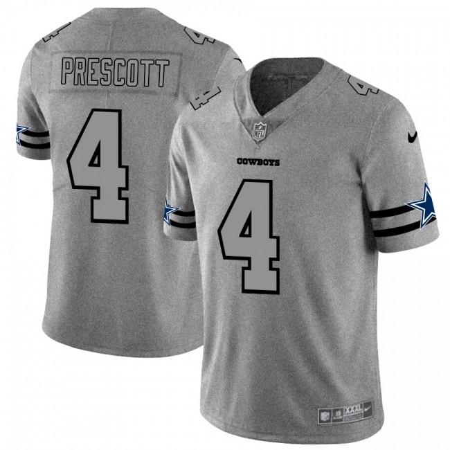 Dallas Cowboys #4 Dak Prescott Men's Nike Gray Gridiron II Vapor Untouchable Limited NFL Jersey