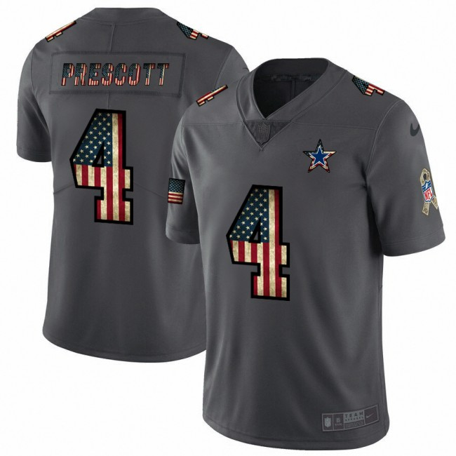 Dallas Cowboys #4 Dak Prescott Nike 2018 Salute to Service Retro USA Flag Limited NFL Jersey