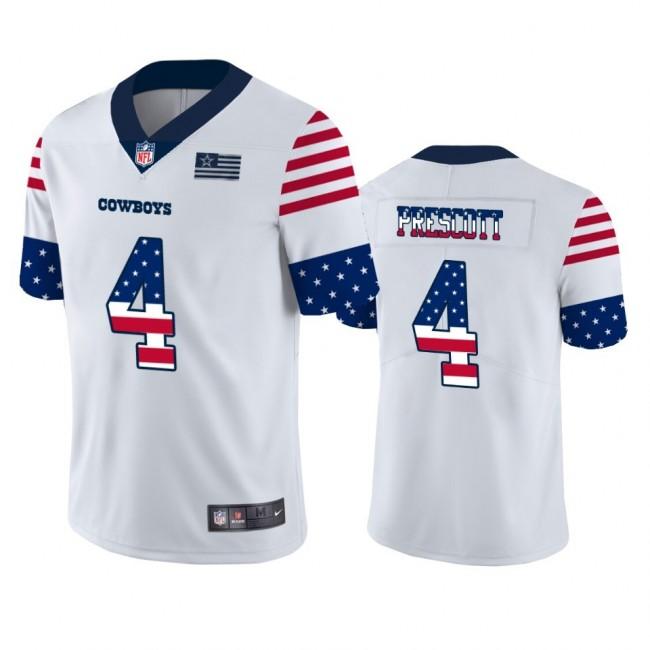 Dallas Cowboys #4 Dak Prescott White Men's Nike Team Logo USA Flag Vapor Untouchable Limited NFL Jersey