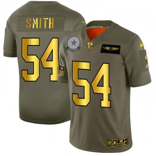 Dallas Cowboys #54 Jaylon Smith NFL Men's Nike Olive Gold 2019 Salute to Service Limited Jersey