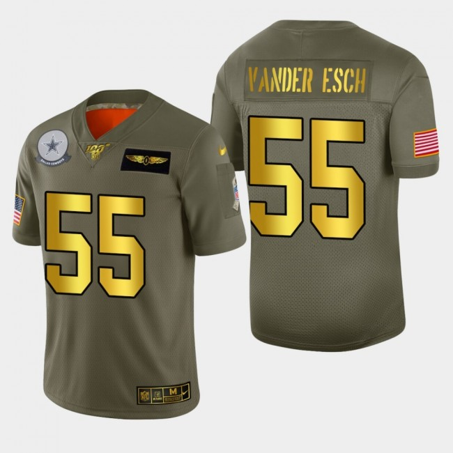 Dallas Cowboys #55 Leighton Vander Esch Men's Nike Olive Gold 2019 Salute to Service Limited NFL 100 Jersey