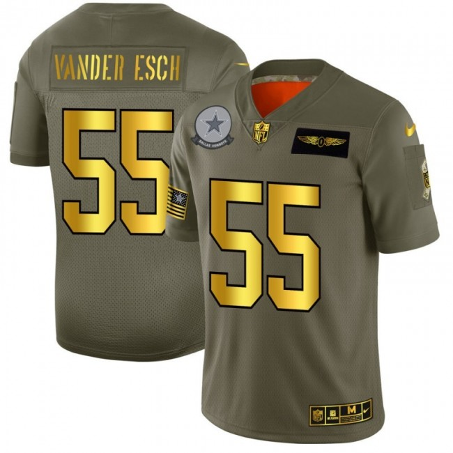 Dallas Cowboys #55 Leighton Vander Esch NFL Men's Nike Olive Gold 2019 Salute to Service Limited Jersey