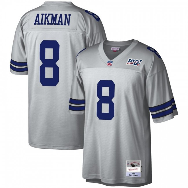 Dallas Cowboys #8 Troy Aikman Mitchell & Ness NFL 100 Retired Player Platinum Jersey