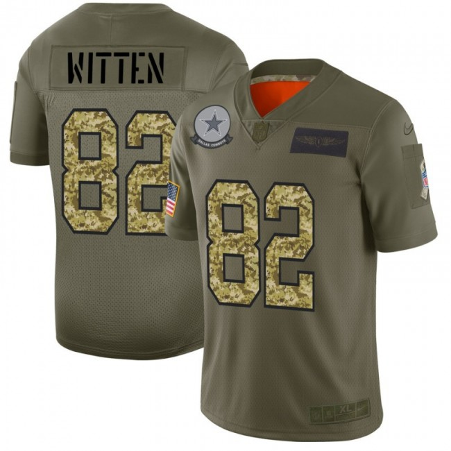 Dallas Cowboys #82 Jason Witten Men's Nike 2019 Olive Camo Salute To Service Limited NFL Jersey