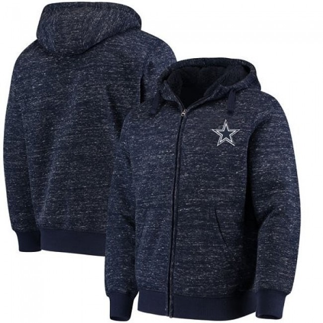 Men's Dallas Cowboys G-III Sports by Carl Banks Discovery Sherpa Heathered Navy Full-Zip Jacket