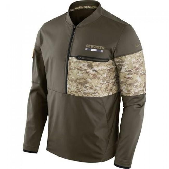 Men's Dallas Cowboys Nike Olive Salute to Service Sideline Hybrid Half-Zip Pullover Jacket