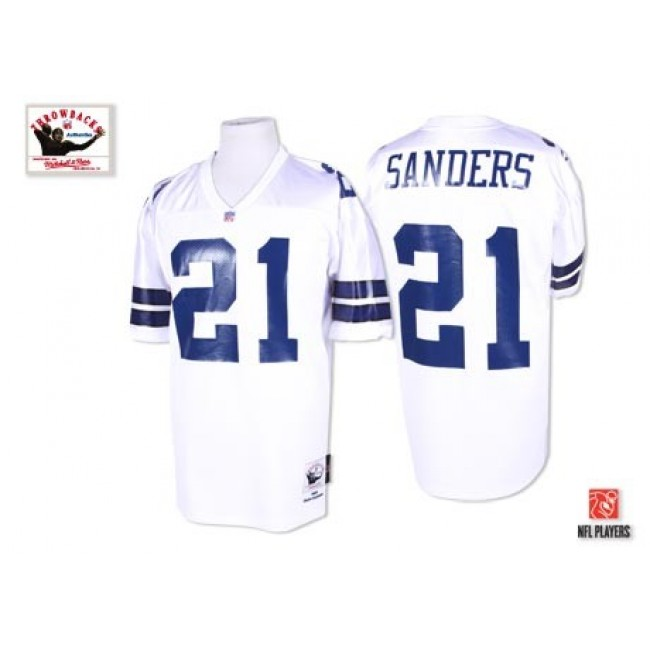 Mitchell & Ness 1995 Cowboys #21 Deion Sanders White Stitched Throwback NFL Jersey